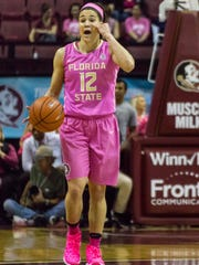 Brittany Brown (12) and the FSU women's basketball