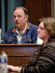 Richard Vande Hey, the state first witness in the trial for George Burch, who is accused of murdering Nicole VanderHeyden in May 2016, answers questions on the stand Monday, Feb. 19, 2018 in Brown County Circuit Court.