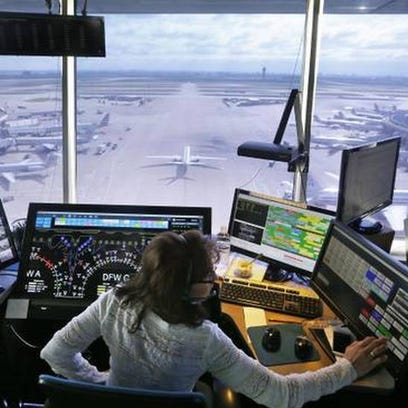 Inside the flight control tower at DFW airport