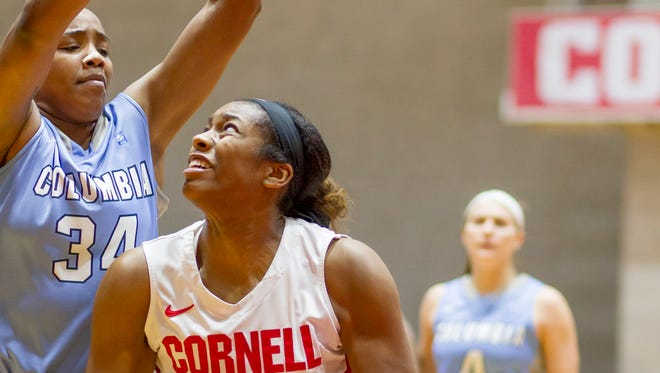 Columbia's Amara Mbionwu, left defends as Cornell's Nia Marshall looks for a shot during the second half of Cornell's 59-39 win Saturday in Ithaca.