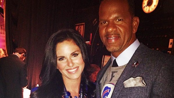 Marisa Scime backstage with Andre Reed at the NFL Draft.
