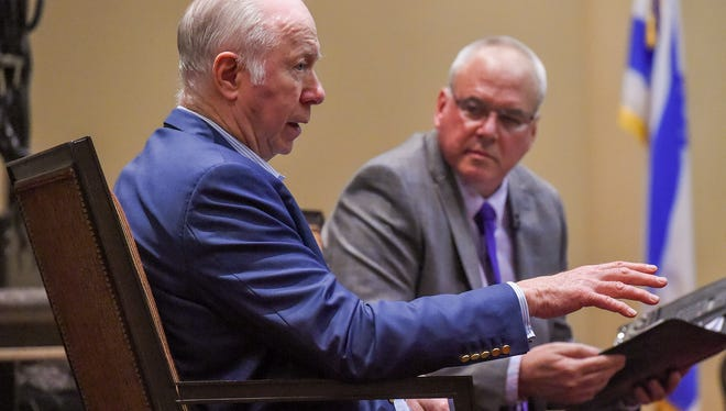 "David Gergen (left), senior political analyst for CNN and former White House adviser to four presidents, speaks Tuesday, Feb. 13, 2018, on ""The State of the Presidency"" with TCPalm columnist Rich Campbell serving as moderator at Temple Beit HaYam in Stuart."