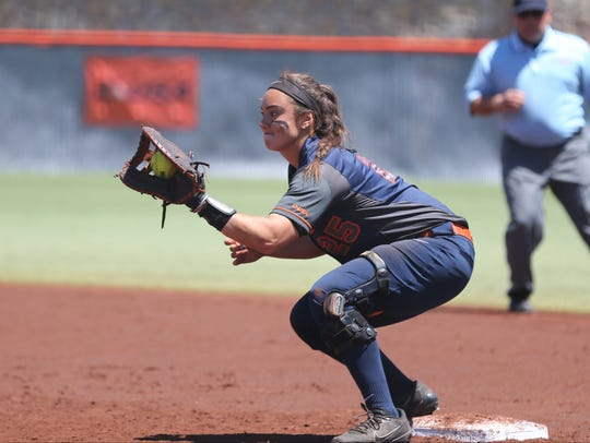 Kacey Duffield at first base Sunday against North Texas.