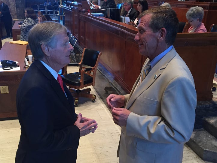 State Sens. Francis Thompson, D-Delhi, and Mike Walsworth,