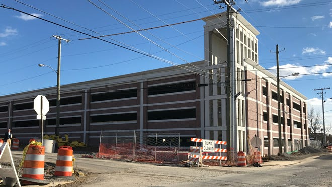 The new Rutherford County parking garage on Lytle Street is slated to be completed in May but it may not open until road construction is complete, Mayor Ernest Burgess said recently. Phpto taken Jan. 27, 2017.