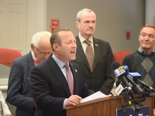 Gov.-elect Phil Murphy, Rep. Josh Gottheimer (NJ-5) and Rep. Bill Pascrell (NJ-9), all Democrats, announce plans for New Jersey to fight back against the federal tax bill during a news conference in Fair Lawn on Jan. 5, 2018.