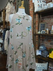 Floral and neutral colors, shown on this dress at Tennessee