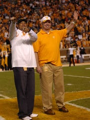 Former players Carl Pickens and Andy Kelly were recognized as UT legends of the game on Saturday, Oct. 3, 2009, at Neyland Stadium.
