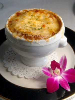 French onion soup, Soupe a l'Oignon Gratinee,  from Pot au Feu in Providence.