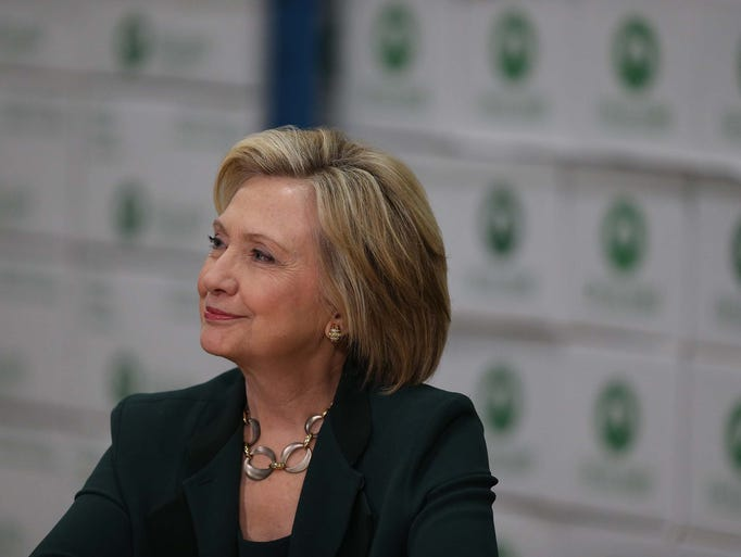 Presidential hopeful Hillary Clinton speaks to a group