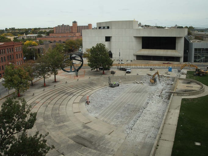 Cowles Commons in the first week of construction on