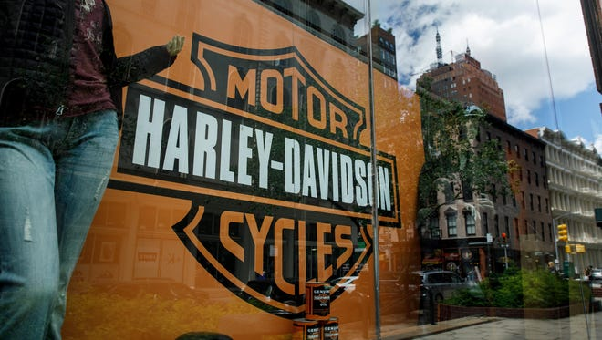 The Harley Davidson logo in a window of Harley-Davidson of New York City store, June 25, 2018 in New York City.