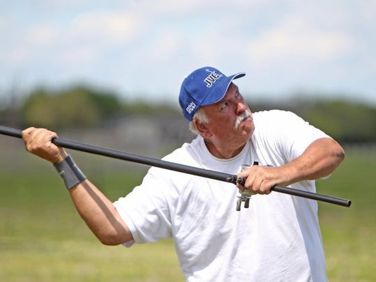 photos by DAVID SIKES/CALLER-TIMES Big Lou McEachern is a one-time national casting champion and famed caster who in 1991 cleared the Astrodome with a mighty cast. The Beaumont angler placed third in the Jerry Valentine Classic.
