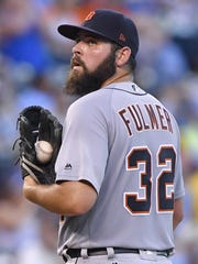 Tigers pitcher Michael Fulmer waits to be relieved