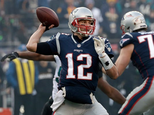 FILE - In this  Sunday, Jan. 21, 2018 file photo, New England Patriots quarterback Tom Brady throws a pass during the first half of the AFC championship NFL football game against the Jacksonville Jaguars in Foxborough, Mass. For the third time, Tom Brady is the NFL's Most Valuable Player. Brady added The Associated Press 2017 NFL MVP award Saturday night, Feb. 3, 2018 at NFL Honors to his wins in 2007 and 2010. (AP Photo/David J. Phillip, File)