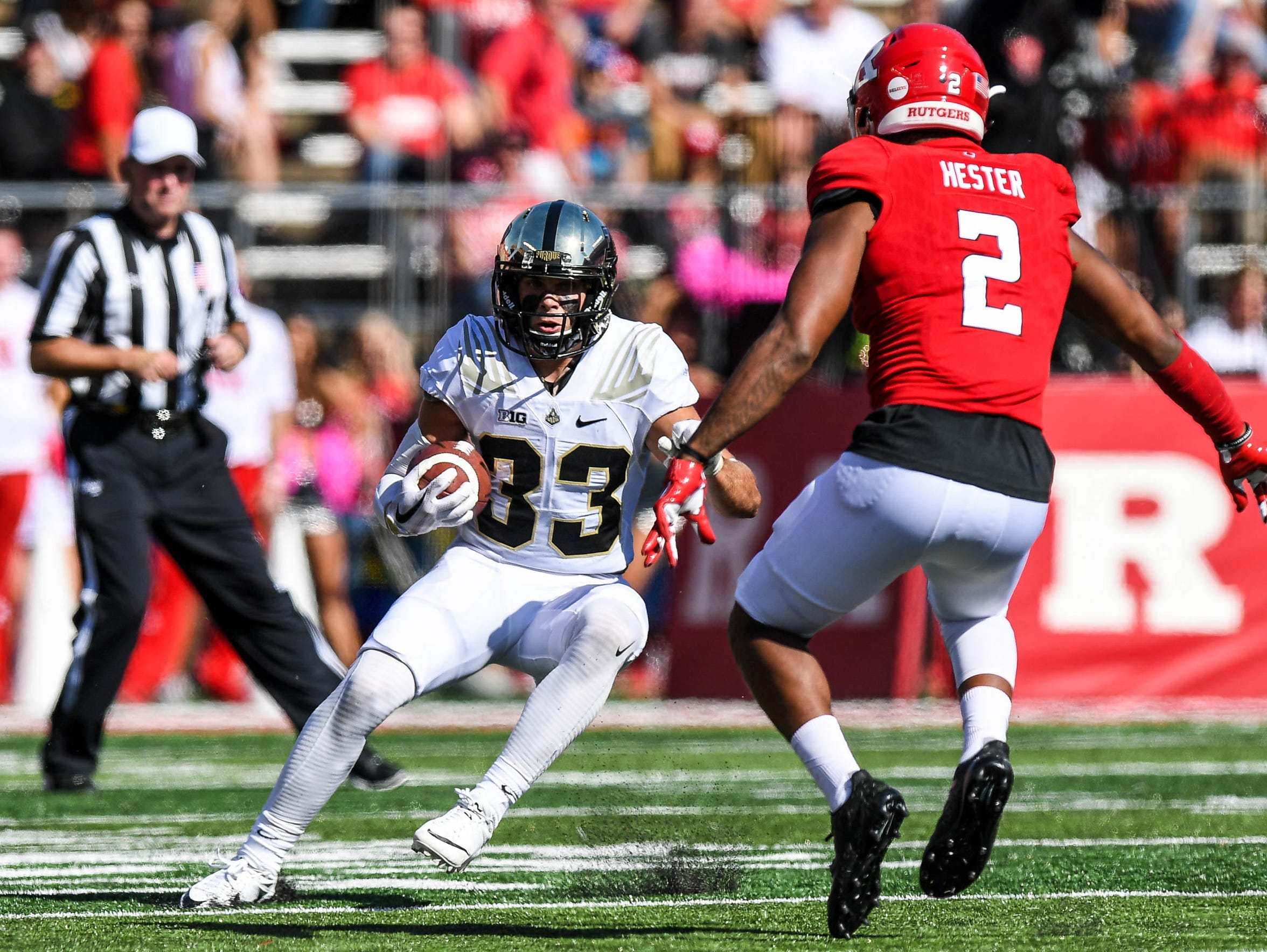 Purdue wide receiver Jackson Anthrop (33) runs after a reception against the Rutgers Scarlet Knights during the second quarter.