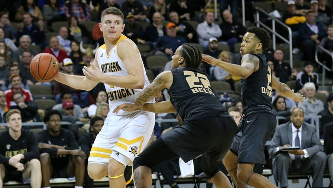 Northern Kentucky Norse forward Drew McDonald (34) looks to pass in the first half during the NCAA college basketball game between Oakland Golden Grizzlies and the Northern Kentucky Norse, Friday, Jan. 26, 2018, at BB&T Arena in Highland Heights, Kentucky.