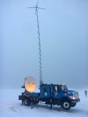 The Doppler-on-Wheels weather research vehicle gathers data while on Cape Cod during last month's blizzard.