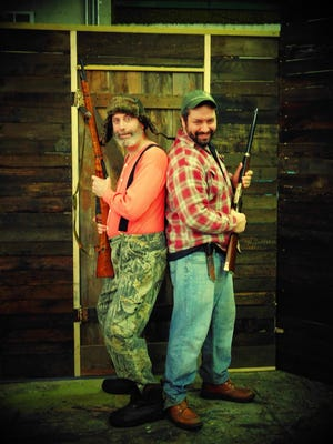 "Starring in the Elmira Little Theatre production of ""Escanaba in da Moonlight"" are Mike Lavarnway, left, and Chris Yerkes."