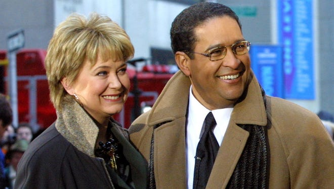 """This Jan. 14, 2002, file photo, shows former NBC """"Today"""" show co-hosts Jane Pauley, left, and Bryant Gumbel, during the morning show's 50th anniversary in New York."""