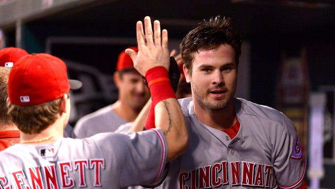 Cincinnati Reds right fielder Jesse Winker (33) is congratulated by Scooter Gennett (4) after hitting a solo home run against St. Louis Cardinals starting pitcher Jack Flaherty (not pictured) during the first inning at Busch Stadium.
