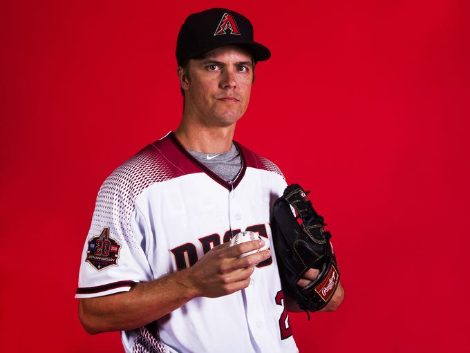 Zack Greinke of the Arizona Diamondbacks poses on picture