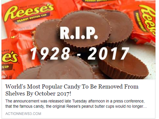 When shared to Facebook, the post looks like any other news post, but Reese's officials say the story is nothing but fake news.