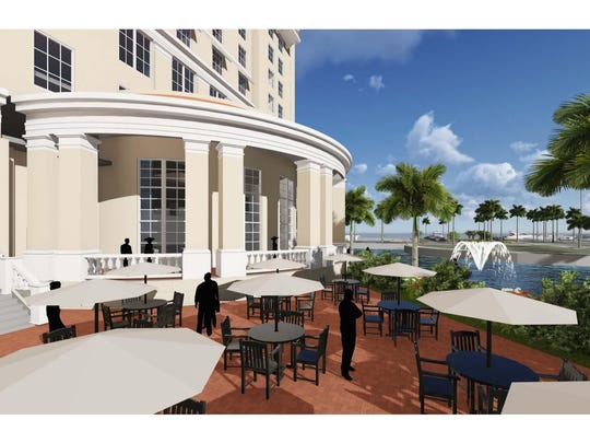 A concept view of the hotel's restaurant, which would be accessible from the outside.