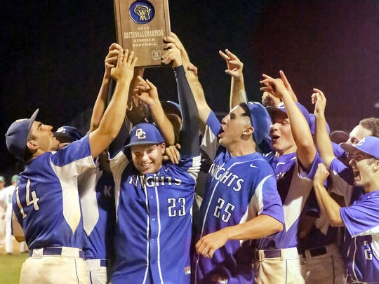 Members of Oak Creek's baseball team celebrate their WIAA summer baseball sectional championship in 2014.