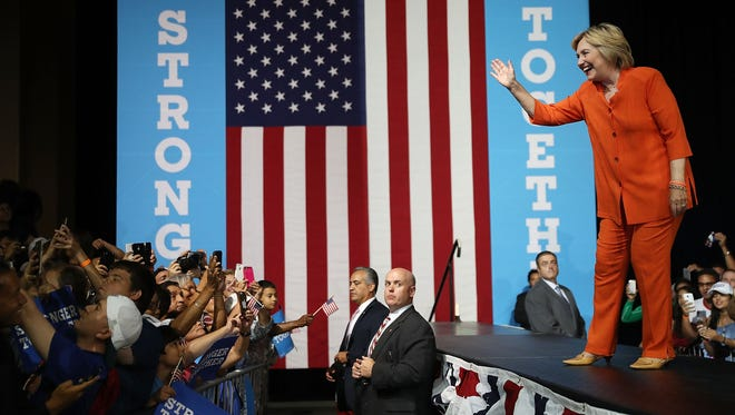 Hillary Clinton attends a campaign rally in Kissimmee, Fla., on Aug. 8, 2016.