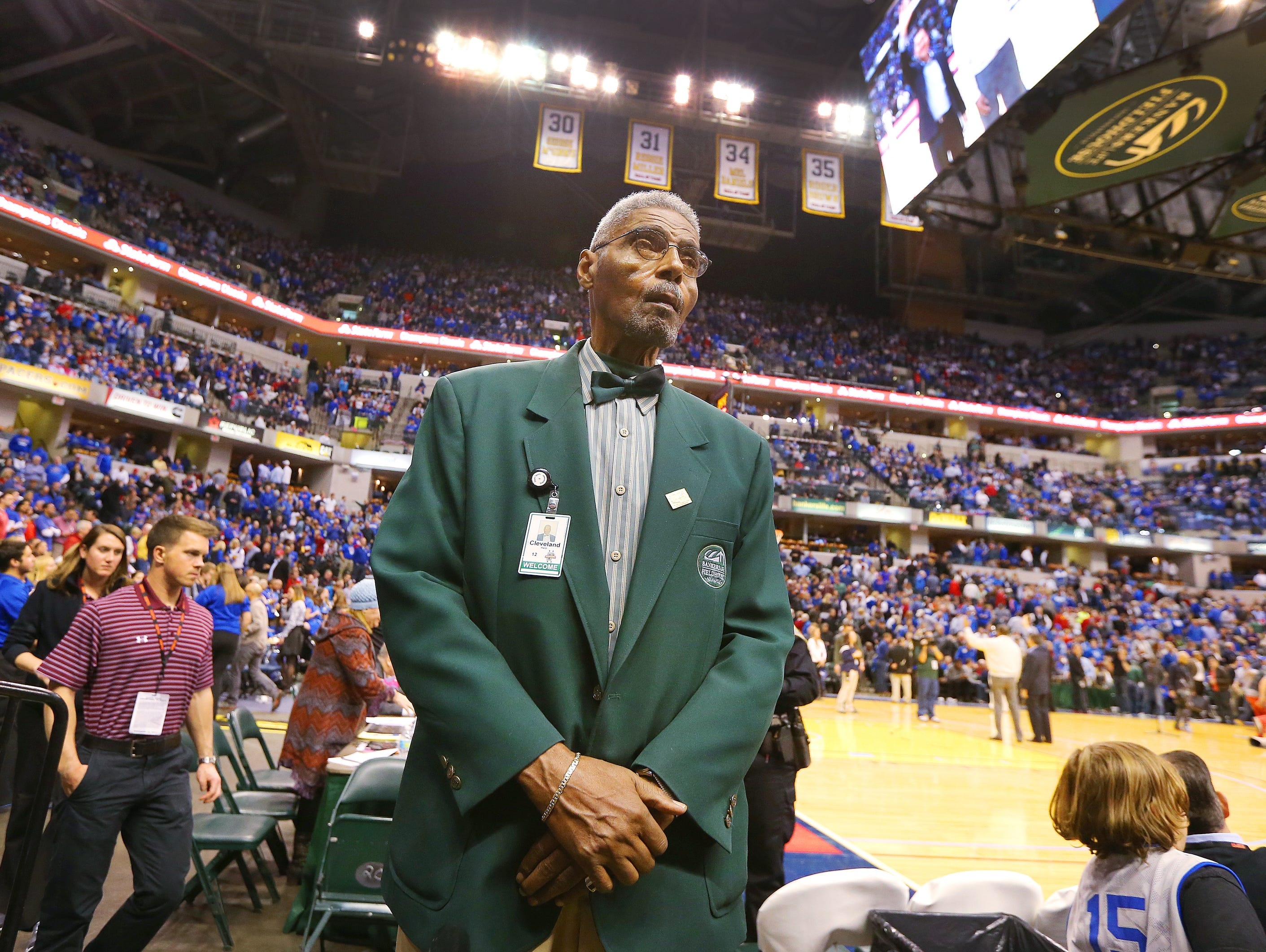 Former Crispus Attucks Tiger Cleveland Harp now works the stands as an usher at Bankers Life Fieldhouse. He's a candidate for the Indiana Basketball Hall of Fame.