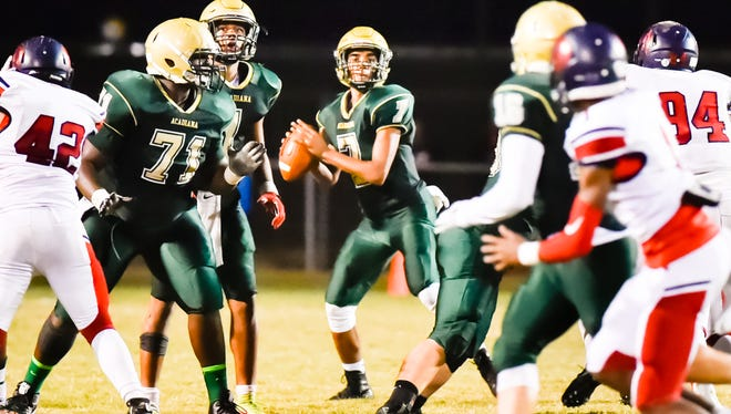 The Wreckin' Rams offensive line puts up a giant wall in front of Acadiana's backfield once again this season.