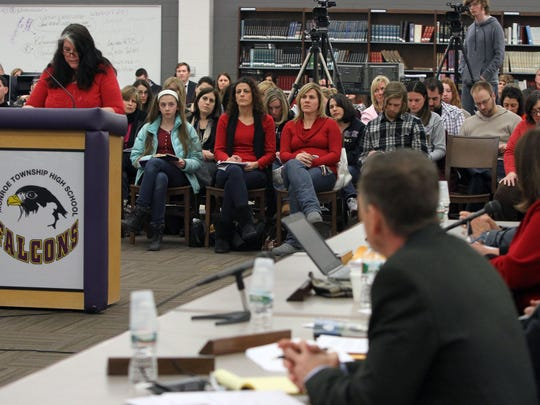 Patricia Lang addresses the Monroe Board of Education during Wednesday night's meeting.