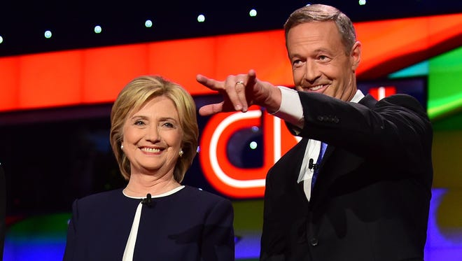 Hillary Clinton and Martin O'Malley at an Oct. 13, 2015, Democratic debate in Las Vegas.