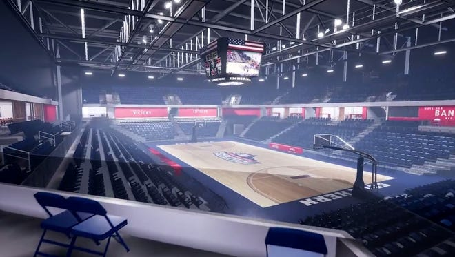 A digital walk though screenshot of the new USI PAC arena. The new arena is scheduled to be open for the 2018-19 season.