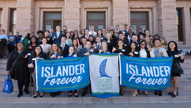 TAMU-CC students gather for a photo at the steps of the State Capitol.