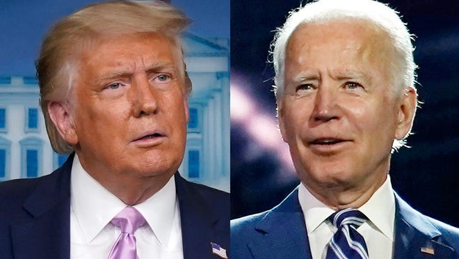Donald Trump, left, and Joe Biden, right.