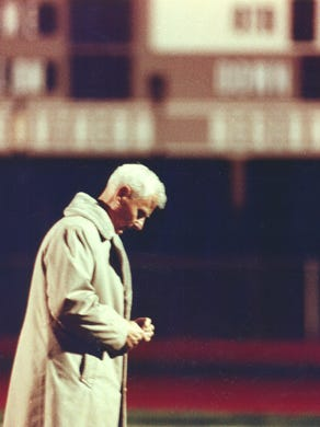 Warren Wolf became the winningest football coach in the state after Brick beat Southern 30-7 on Nov. 13, 1992. Here, Wolf paces the sideline 45 minutes before the start of that game.