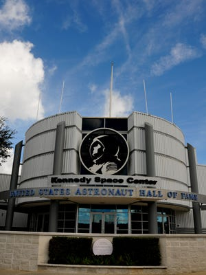 The Astronaut Hall of Fame and some of the displays will be integrated into the new Heroes and Legends exhibit at the Kennedy Space Center Visitor Complex. Entrance to the Astronaut Hall of Fame which is closing November 1st.