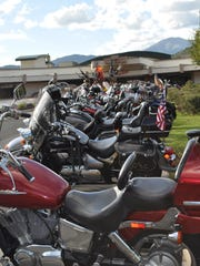Bikers filled the parking lot at Inn of the Mountain Gods for the Golden Aspen Rally