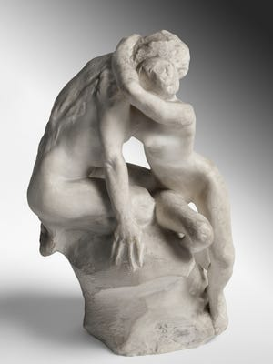 The Goo'd Spirit,' by Auguste Rodin, plaster, modeled c. 1895‑1900; cast c. 1926, is part of a new installation at the Rodin Museum in Philadelphia centered on the theme of  the passionate embrace.