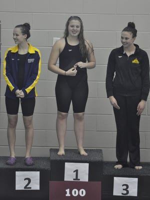 Pinckney's Annabelle Haberkorn won the 100-yard breaststroke at the SEC championship meet this season.
