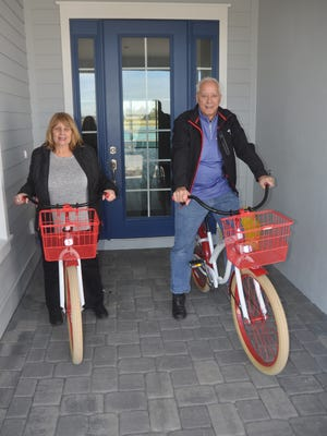 Babcock Ranch gave Richard and Robin Kinley bicycles they use to ride around the community.