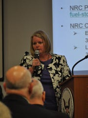Joy Russell, Vice President of Corporate Business Development for Holtec International, speaks to the public during a scoping meeting held May 3 by the Nuclear Regulatory Commission.