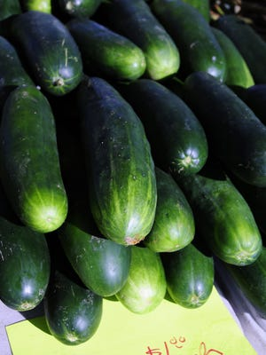 Cucumbers and other veggies are starting to show up at farmers markets.