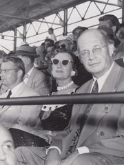 Left to right: Mrs. Harley Earl, Haskcall Bliss, Lou Hamilton, Mrs. Bliss, Russell White at the Indianapolis 500 in 1954