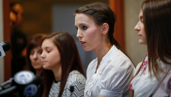 Former gymnast Rachael Denhollander speaks during a press conference at The Radisson in downtown Lansing Wednesday, Nov. 22, 2017.