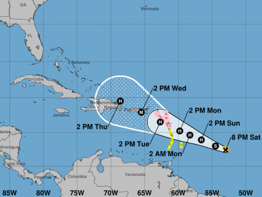 Tropical Storm Maria. 8 p.m., Sept. 17, 2017.