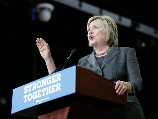 Hillary Clinton speaks during a rally in Raleigh, N.C.,