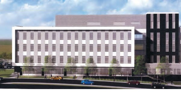 The Binghamton University pharmacy school planned for Corliss Avenue in Johnson City is shown in an architect's rendering.